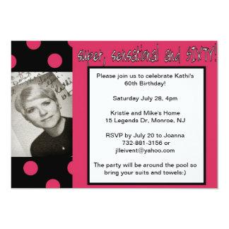 """super 60th birthday invitation 5"""" x 7"""" invitation card"""