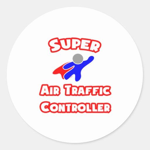 Super Air Traffic Controller Round Stickers