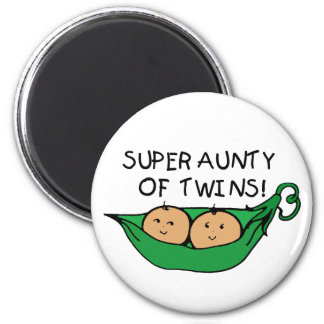 Super Aunty of Twins Pod 6 Cm Round Magnet