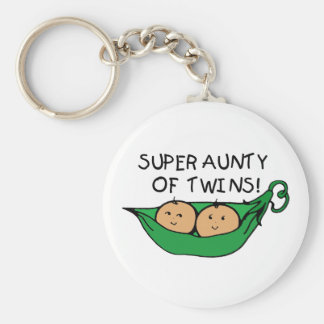 Super Aunty of Twins Pod Basic Round Button Key Ring