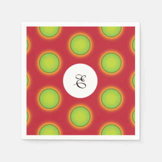 Super awesome green dots pattern monogram napkin disposable serviette