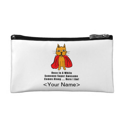 Super Awesome Orange Cat with Red Cape Cosmetic Bags