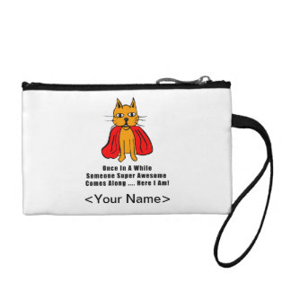 Super Awesome Orange Cat with Red Cape Coin Purses