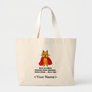 Super Awesome Orange Cat with Red Cape Canvas Bag