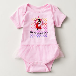 SUPER BABY GIRL tutu body suit with a girl superhe Baby Bodysuit