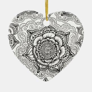 Super Black and White Mandala Pattern Ceramic Heart Decoration
