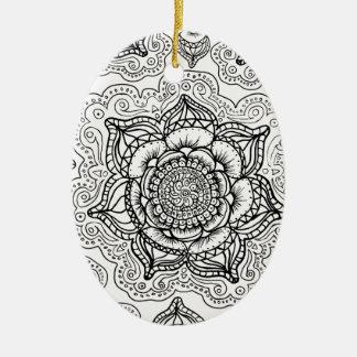 Super Black and White Mandala Pattern Ceramic Oval Decoration