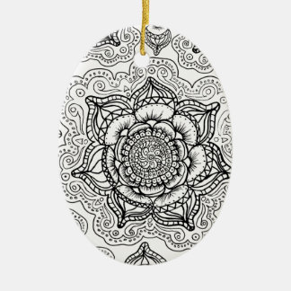 Super Black and White Mandala Pattern Christmas Ornament