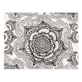 Super Black and White Mandala Pattern Postcard