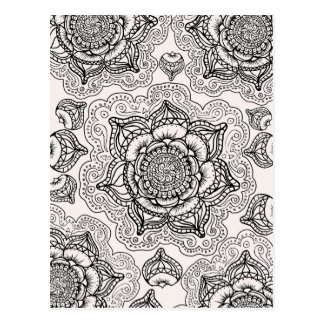 Super Black and White Mandala Pattern Postcard
