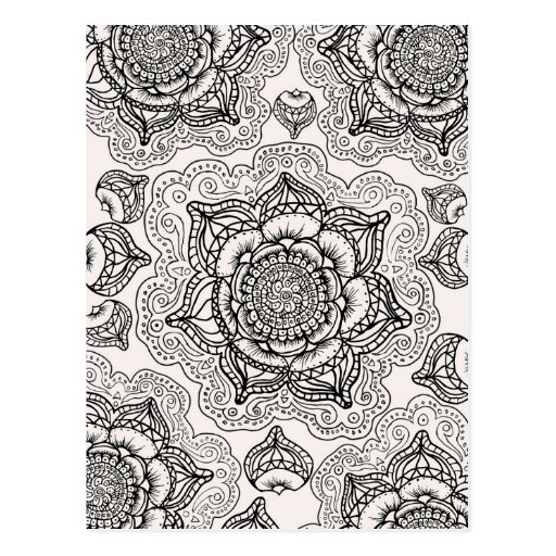 Super Black and White Mandala Pattern Post Cards