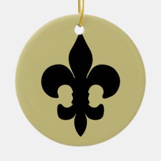 Super Black Fleur de lis Christmas Ornament