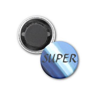 Super blue white diagonal design button 3 cm round magnet