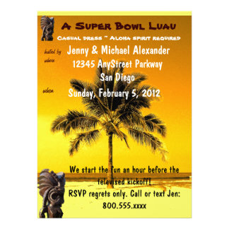 Super Bowl Party Luau Personalized Invitations