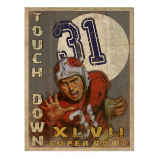 Super Bowl Postcard With Cool Vintage Print