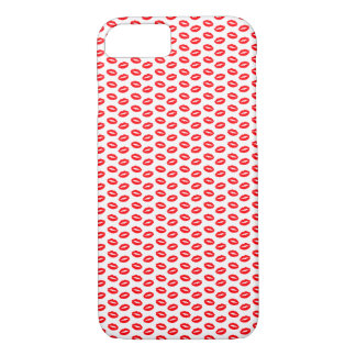 Super Bright Neon Red Lips On White iPhone 8/7 Case