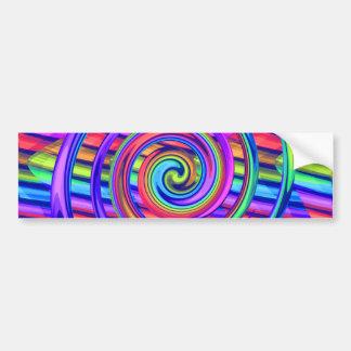 Super Bright Rainbow Spiral With Stripes Design Bumper Sticker