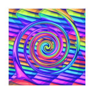 Super Bright Rainbow Spiral With Stripes Design Stretched Canvas Prints