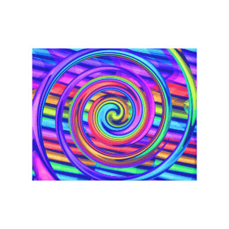 Super Bright Rainbow Spiral With Stripes Design Canvas Prints