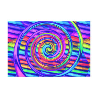 Super Bright Rainbow Spiral With Stripes Design Stretched Canvas Print