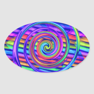 Super Bright Rainbow Spiral With Stripes Design Oval Sticker