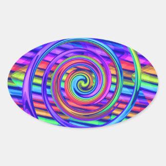Super Bright Rainbow Spiral With Stripes Design Stickers