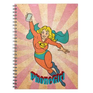 Super Cell Phone Girl Woman Spiral Notebook