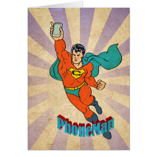 Super Cell Phone Man Greeting Cards