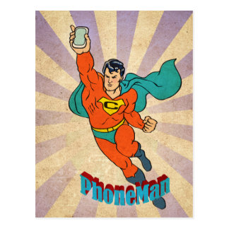 Super Cell Phone Man Post Cards