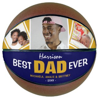 Super Cool  'BEST DAD EVER' Photo and Name Basketball