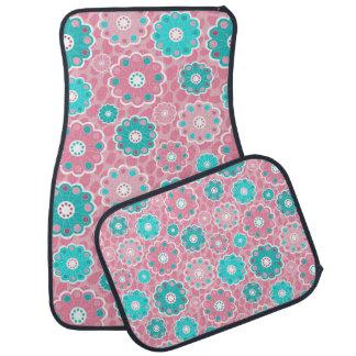 Super cool funky pink & aqua floral car mat
