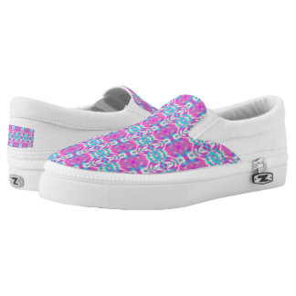 SUPER COOL Pink and Blue Pattern Slip-On Shoes
