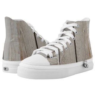 SUPER COOL WOOD PLANK HIGH TOPS PRINTED SHOES