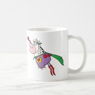 Super Cow Cartoon Character Basic White Mug