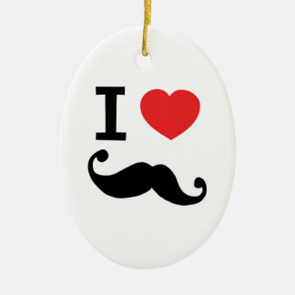 Super curly, twirly Moustache, I LOVE MOUSTACHE Christmas Ornament