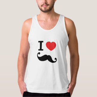 Super curly, twirly Moustache, I LOVE MOUSTACHE Tank Top
