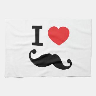 Super curly, twirly Moustache, I LOVE MOUSTACHE Tea Towel