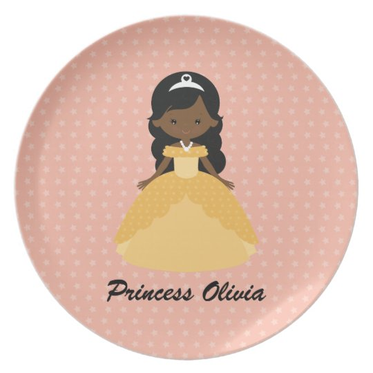 Super Cute Afro American Princess Plate