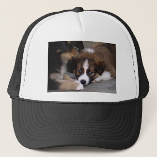 Super Cute Australian Shepherd Puppy Trucker Hat