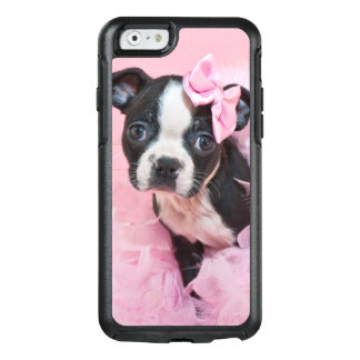 Super Cute Boston Terrier Puppy Wearing A Boa OtterBox iPhone 6/6s Case