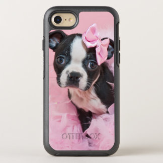 Super Cute Boston Terrier Puppy Wearing A Boa OtterBox Symmetry iPhone 8/7 Case