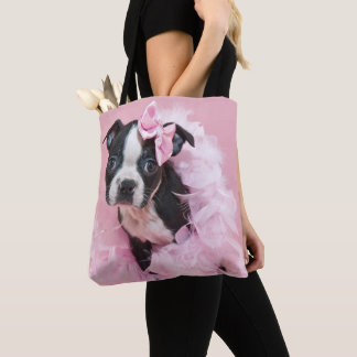 Super Cute Boston Terrier Puppy Wearing A Boa Tote Bag