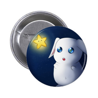 Super cute bunny rabbit catching stars 6 cm round badge