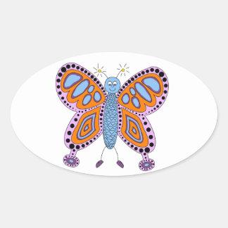 Super Cute Butterfly Oval Sticker