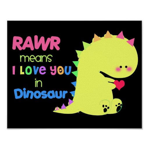 SUPER CUTE Dinosaur Poster BLACK RAWR small