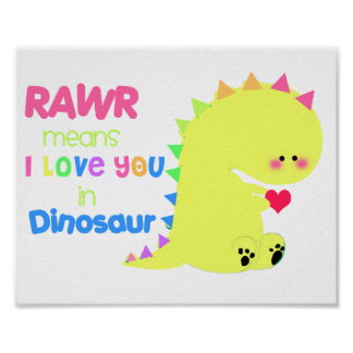 SUPER CUTE Dinosaur Poster RAWR small