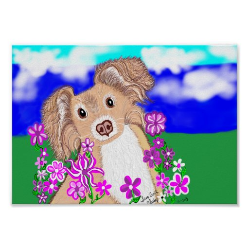 super cute dog poster with bright pink flowers