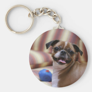 Super Cute dog with her favourite ball Basic Round Button Key Ring