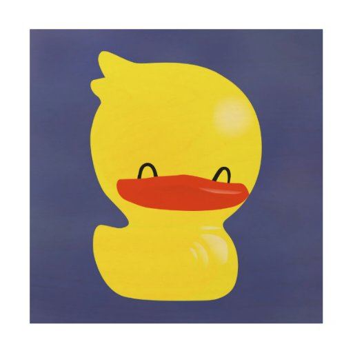 Super Cute Ducky Wood Canvas - Blue Background