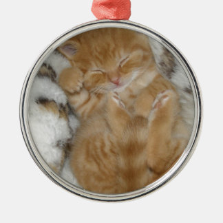 Super Cute Ginger Sleeping Kitten Silver-Colored Round Decoration